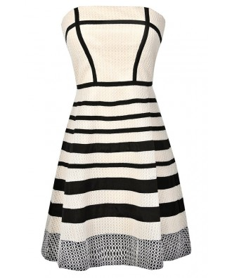 Cute Black and Beige Stripe Dress, Black and Ivory Stripe Dress, Cute Black and Ivory Summer Dress, Black and Beige Party Dress