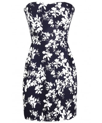 Navy and Ivory Floral Print Dress, Navy and White Sundress, Strapless Navy Summer Dress, Navy Floral Print Dress, Blue Floral Print Dress, Ivory and Blue Floral Print Sundress, Cute Navy Summer Dress