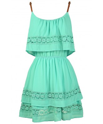 Cute Mint Dress, Mint Summer Dress, Mint Crochet Lace Dress, Mint Party Dress, Cute Juniors Dress