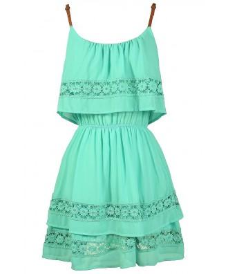 Cute Mint Dress, Mint Summer Dress, Mint Crochet Lace Dress, Mint Party Dress, Cute Juniors Dress