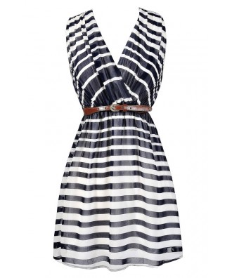 Navy and Ivory Stripe Dress, Cute Summer Stripe Dress, Navy Nautical Stripe Dress, Navy and Ivory Belted Stripe Dress