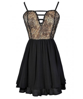 Cute Black Lace Dress, Black Lace A-Line Dress, Black and Beige Party Dress, Cute Black Lace Dress, Lace Party Dress, Cute Juniors Dress