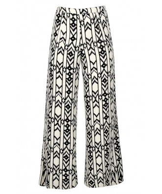 Black and Ivory Palazzo Pants, Black and Ivory Print Pants, Black and Ivory Wide Leg Pants, Geometric Print Palazzo Pants