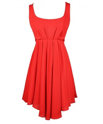 Red Bow Dress, Cute Red Dress, Red A-Line Dress, Red Summer Dress, Red Party Dress, Cute Red Juniors Dress, Red A-Line Dress