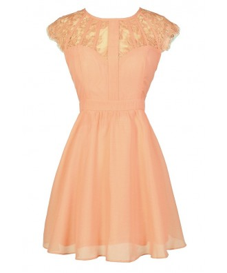 Cute Lace Dress, Cute Peach Dress, Peach Lace Dress, Cute Summer Dress, Peach Lace A-Line Dress, Peach Sundress