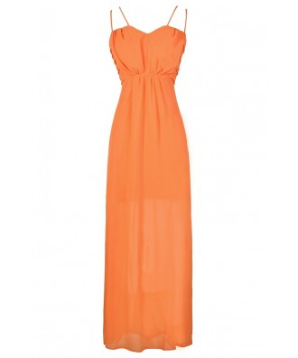 Orange Maxi Dress, Cute Orange Dress, Orange Prom Maxi Dress, Orange Chiffon Dress, Cute Orange Juniors Dress