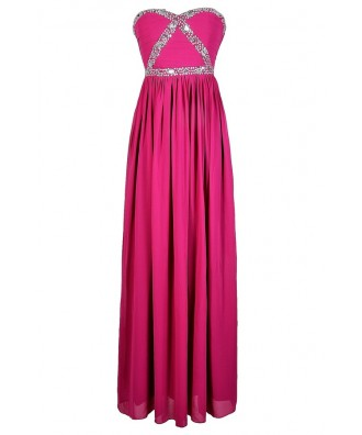 Fuchsia Embellished Maxi Dress, Fuchsia Beaded Prom Dress, Fuchsia Maxi Dress, Cute Fuchsia Prom Dress, Sequin and Rhinestone Fuchsia Prom Dress, Pink Maxi Dress, Beaded Pink Prom Dress