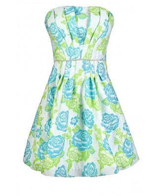 Teal Floral Dress, Cute Floral Dress, Minuet Teal Floral Dress, Minuet Dress, Floral A-Line Dress, Teal and Lime Green Floral Dress, Green Flower Dress, Cute Floral Sundress