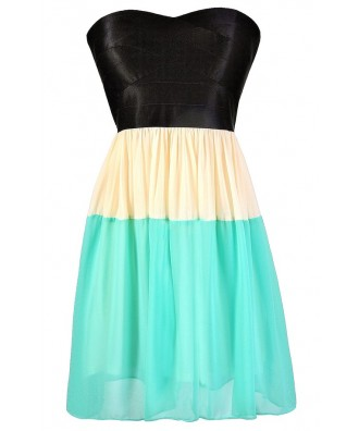 Cute Colorblock Dress, Black and Teal Colorblock Dress, Colorblock Strapless Dress, Teal and Black Summer Dress, Cute Colorblock Party Dress, Teal Ivory and Black Dress