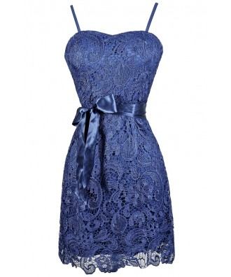 Bright Blue Lace Dress, Royal Blue Lace Dress, Blue Crochet Lace Dress, Cute Royal Blue Dress, Bright Blue Lace Party Dress, Bright Blue Lace Cocktail Dress, Blue Crochet Lace Bridesmaid Dress