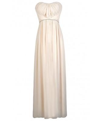 Beige Maxi Dress, Cream Maxi Dress, Beige Prom Dress, Beige Maxi Bridesmaid Dress, Formal Cream Dress, Beige Rhinestone Maxi Dress, Cream Rhinestone Maxi Dress
