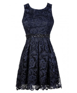 Navy Lace Dress, Cute Navy Dress, Navy Embellished Dress, Navy Lace A-Line Dress, Navy Lace Party Dress