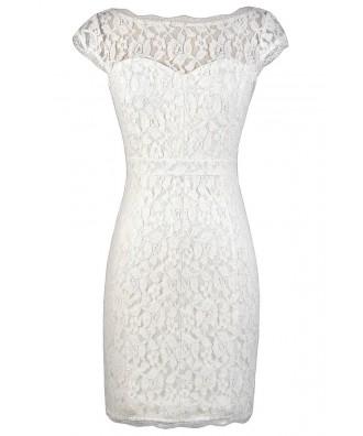 White Lace Dress, White Lace Pencil Dress, Fitted White Lace Dress, White Lace Rehearsal Dinner Dress, White Lace Bridal Shower Dress, White Lace Party Dress