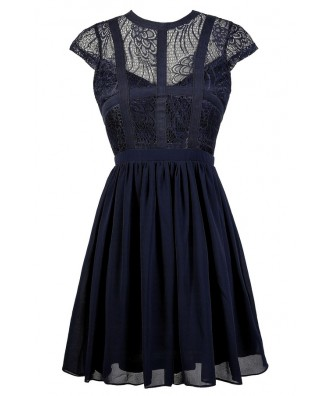 Navy Lace Dress, Cute Navy Dress, Navy Party Dress, Navy Sundress, Navy A-Line Dress, Blue Lace Dress
