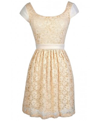 Beige Lace Dress, Beige Lace Capsleeve Dress, Cute Beige Dress, Beige Lace Party Dress, Beige Lace A-Line Dress