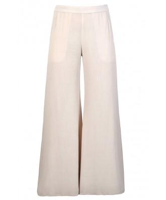 Cute Beige Pants, Beige Wide Leg Pants, Flowy Beige Pants, Beige Palazzo Pants