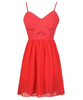 Cute Coral Dress, Coral A-Line Dress, Coral Party Dress, Coral Cocktail Dress, Coral Chiffon Dress