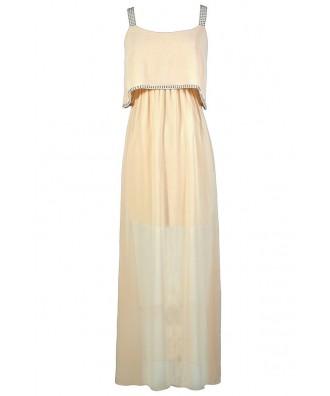 Beige Maxi Dress, Studded Maxi Dress, Flutter Top Maxi Dress, Beige Flutter Top Dress, Bohemian Maxi Dress, Boho Glam Maxi Dress, Off White Maxi Dress