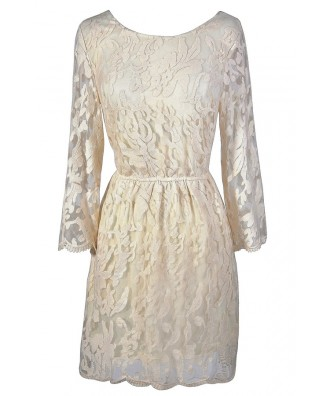 Ivory lace dress, ivory rehearsal dinner dress, ivory bridal shower dress, ivory lace rehearsal dinner dress, beige lace dress, off white lace dress