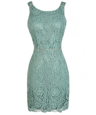 Lace Pencil Dress, Sage Lace Dress, Mint Lace Dress, Green Lace Dress, Open Back Lace Dress, Lace Cocktail Dress, Lace Party Dress, Sage Crochet Lace Dress, Sage Lace Pencil Dress