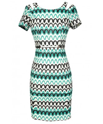 Missoni Style Dress, Missoni Pattern Dress, Green and Black Dress, Cute Summer Dress, Green and Black Wave Dress, Wave Pattern Dress, Chevron Dress