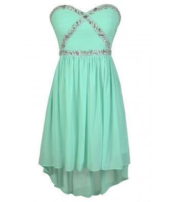 Cute Prom Dress, Mint Prom Dress, Mint High Low Dress, Beaded High Low Dress, Embellished High Low Dress, Mint Party Dress, Mint Cocktail Dress