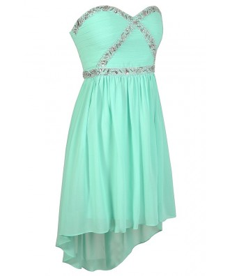 Mint Prom Dress, Beaded Mint Dress, Cute Prom Dress, Mint Prom Dress ...