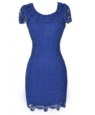 Bright Blue Lace Dress, Blue Lace Pencil Dress, Royal Blue Pencil Dress, Blue Lace Dress