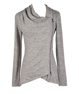 Grey Crossover Cardigan, Cute Grey Cardigan, Grey Sweater, Crossover Zip Cardigan, Cute Fall Top, Cute Fall Outfit