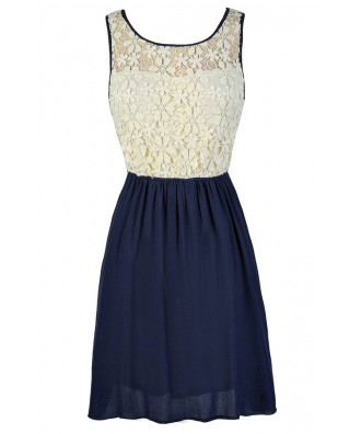 Navy Lace Dress, Cute Navy Dress, Cute Lace Dress, Navy and Ivory Lace Dress, Navy Lace Sundress, Navy Lace Summer Dress, Navy Lace Party Dress