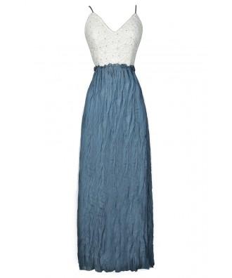 Blue and Ivory Dress, Ivory and Blue Lace Dress, Blue Maxi Dress, White and Blue Maxi Dress, Open Back Maxi Dress, Crochet Lace Maxi Dress
