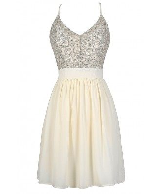 Ivory and Silver Dress, Cream and Silver Dress, Off White and Silver Dress, Ivory Sequin Dress, Ivory Rehearsal Dinner Dress, Cream Rehearsal Dinner Dress, Off White Rehearsal Dinner Dress, Ivory Sequin Party Dress, Cream Sequin Party Dress