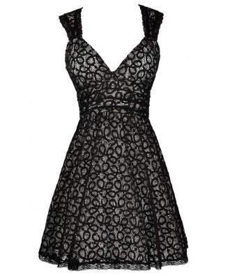 Black Sequin Lace Dress, Black Lace A-Line Dress, Cute Black Dress, Black Lace Dress, Black Lace Party Dress, Black Lace Cocktail Dress, Little Black Dress