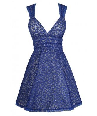 Bright Blue Party Dress, Blue Lace Dress, Lace and Sequin Dress, Royal Blue Cocktail Dress, Royal Blue Lace Dress, Royal Blue Party Dress, Blue A-Line Lace Dress, Blue A-Line Party Dress