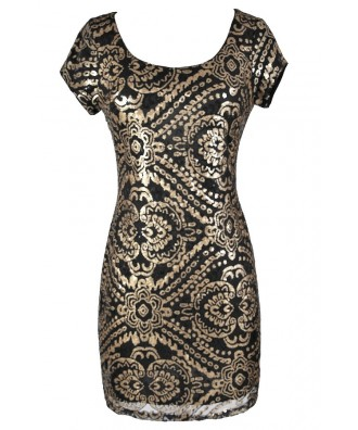 Black and Gold Sequin Dress, Cute Holiday Dress, Cute New Years Dress, Black and Gold New Years Dress, Black and Gold Party Dress, Black and Gold Sequin Pencil Dress, Black and Gold Sequin Sheath Dress, Cute Black and Gold Dress, Cute Sequin Dress, Black