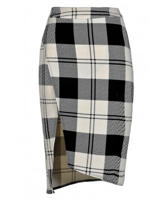 Black and White Plaid Skirt, Black and Ivory Plaid Skirt, Cute Plaid Skirt, Plaid Pencil Skirt, Crossover Pencil Skirt, Plaid Printed Skirt
