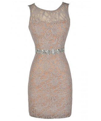 b2fdbfeecb7 Mocha Sparkle Dress, Beige Sparkle Dress, Beige Sequin Lace Dress, Beige  Lace Dress