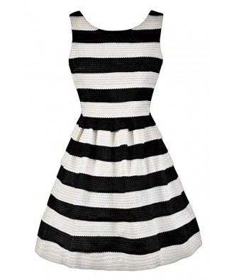 Black and White Stripe Dress, Black and Ivory Stripe Dress, Cute Black and White Dress, Black and White Stripe A-Line Dress