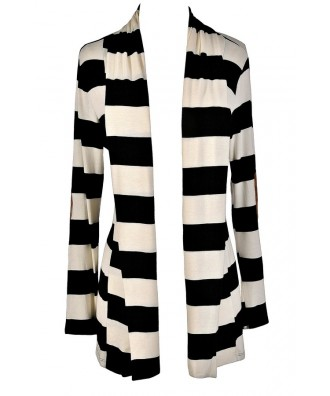 Black and Ivory Stripe Cardigan, Black and White Stripe Cardigan, Patch Elbow Cardigan, Black and White Stripe Cardigan with Elbow Patch, Elbow Patch Cardigan, Cute Black and White Cardigan