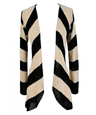 Black and Beige Stripe Cardigan, Cute Black and Beige Top, Cute Fall Cardigan, Cute Striped Cardigan, Black and Beige Stripe Cardigan Sweater, Black and Tan Stripe Cardigan Sweater