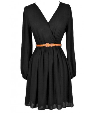Black Surplice Dress, Black Belted Dress, Cute Fall Dress, Black and Brown Dress, Black Crossover Dress, Casual Black Dress, Black Knit Dress, Black Longsleeve Dress, Black A-Line Dress, Black Sundress