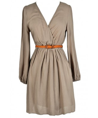 Cute Beige Dress, Beige Safari Dress, Safari Style Dress, Belted Safari Dress, Beige A-Line Dress, Cute Fall Dress, Beige Longsleeve Dress, Taupe Longsleeve Dress, Beige Surplice Dress, Beige Crossover Dress, Beige Sundress