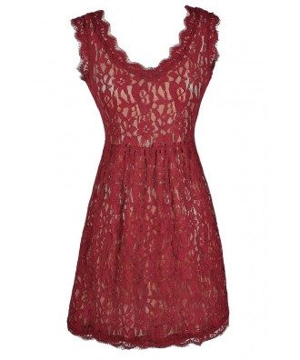 Burgundy Lace Dress, Red Lace Dress, Maroon Lace Dress, Cute Holiday Dress, Cute Bridesmaid Dress, Burgundy Bridesmaid Dress, Red Lace Party Dress