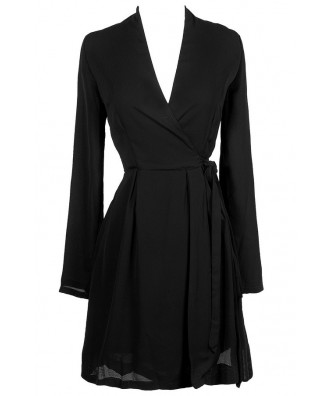 Black Wrap Dress, Cute Black Dress, Black Longsleeve Wrap Dress, Little Black Dress, Black Work Dress, Black Kimono Dress