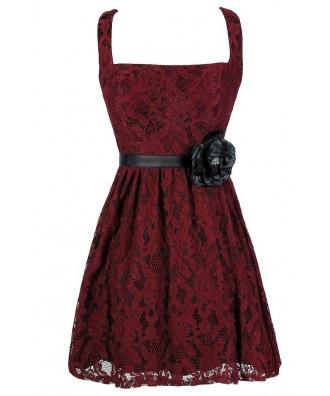 Burgundy Lace Dress, Red Lace Dress, Cute Lace Dress, Cute Holiday Dress, Cute Christmas Dress, Burgundy Lace A-Line Dress, Burgundy Lace Party Dress