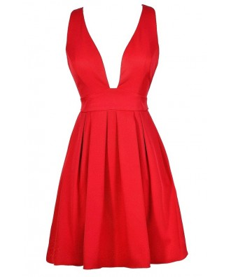 Cute Red Dress, Red Party Dress, Red A-Line Dress, Red Cocktail Dress, Cute Christmas Dress, Cute Holiday Dress, Cute Mistletoe Dress