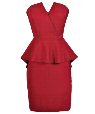 Cute Holiday Dress, Cute Christmas Dress, Burgundy Peplum Dress, Burgundy Christmas Dress, Strapless Peplum Dress, Peplum Pencil Dress, Strapless Peplum Pencil Dress, Burgundy Party Dress, Burgundy Cocktail Dress, Red Cocktail Dress, Red Party Dress, Red