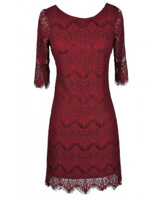 Cute Lace Dress, Cute Red Dress, Red Lace Dress, Burgundy Lace Dress, Cute Holiday Dress, Cute Christmas Dress, Cute Christmas Party Dress, Cute Fall Dress, Maroon Lace Dress, Burgundy Lace Party Dress, Burgundy Lace Cocktail Dress
