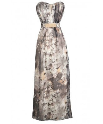 Grey Floral Print Maxi Dress, Strapless Floral Print Maxi Dress, Little Mistress Floral Maxi Dress, Little Mistress Grey Floral Print Maxi Dress