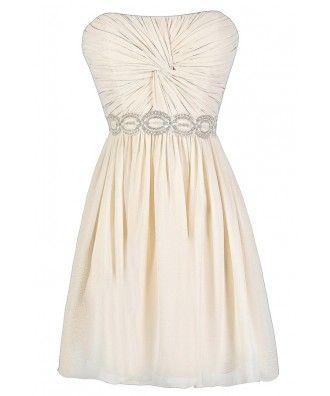 cute beige dress cute cream dress beige strapless dress twisted chiffon dress